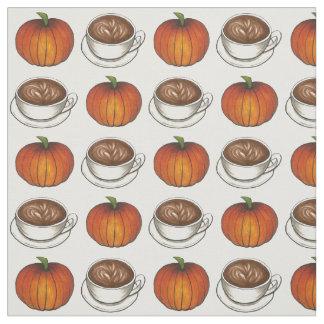 Kürbis-Gewürz-Kaffee Latte Herbst-Fall-Gewebe Stoff