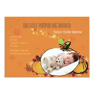 Kürbis-Sprösslings-Foto-Geburts-Mitteilung 12,7 X 17,8 Cm Einladungskarte