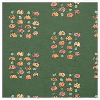 Kürbise mit Blätter kämmten Baumwollgewebe Stoff