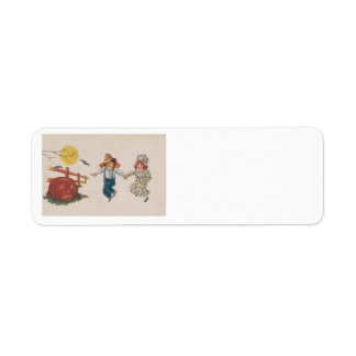 Kürbislaterne-Kürbis-Schläger-Vollmond-Kinder Rücksendeetiketten