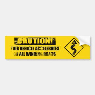 Kurven-Vorsicht yelliow beunruhigt Autoaufkleber