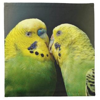 Küssen des Budgie Papageien-Vogels Stoffserviette
