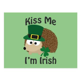 Küssen Sie mich, den ich irischer Igel bin Postkarte