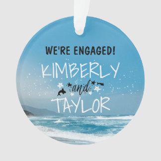 Küste - blaue Strand-Hochzeit/Verlobung Ornament