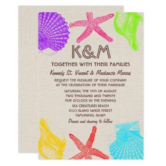 Küste-Strand-Hochzeit lädt ein 12,7 X 17,8 Cm Einladungskarte
