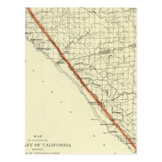 Küste von Kalifornien San- Andreasriß zeigend Postkarte