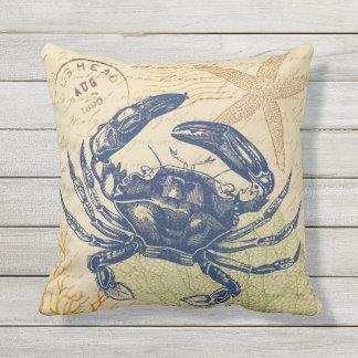 Küsten-blaue Krabben-Collage Zierkissen