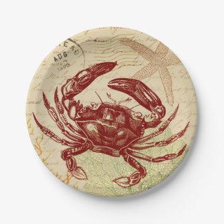Küsten-rote Krabben-Collage Pappteller