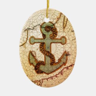Küstenstrand-Seekarten-Vintager Anker Keramik Ornament