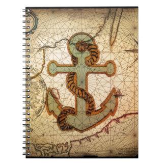 Küstenstrand-Seekarten-Vintager Anker Spiral Notizbücher