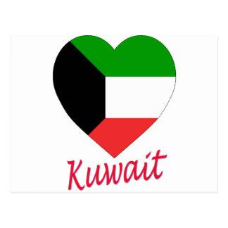 Kuwait-Flaggen-Herz Postkarte