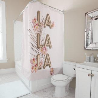 LA-LA-LA Girly Trendy RoseGold Blumen-Motivation Duschvorhang