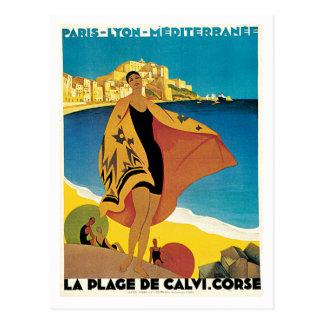 La-Strand-De Calvi Corse Frankreich Postkarte