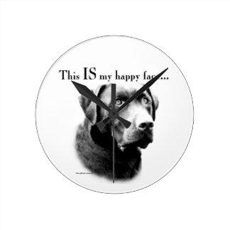 Labrador-glückliches Gesicht Runde Wanduhr