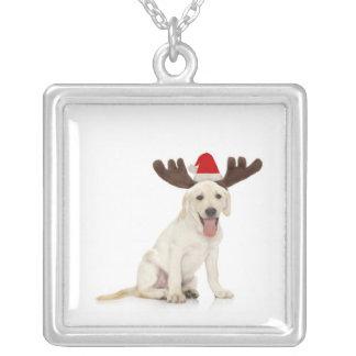 Labrador-Welpen-tragende Geweihe Versilberte Kette