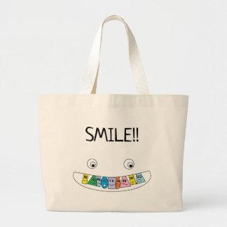 LÄCHELN Spaß-smiley-Toothy Mund-Druck Jumbo Stoffbeutel