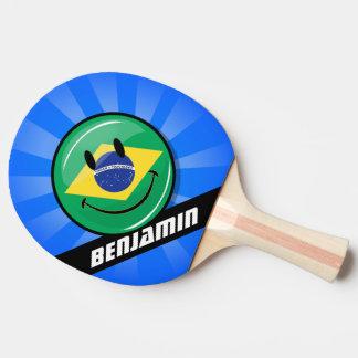 Lächelnde brasilianische Flagge Tischtennis Schläger