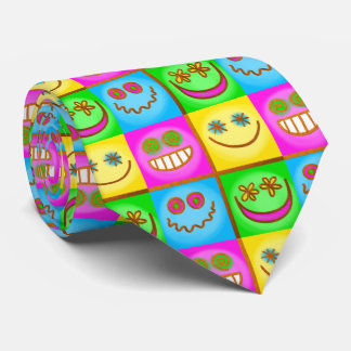 lächelnde Ikonen Pastell Bedruckte Krawatten