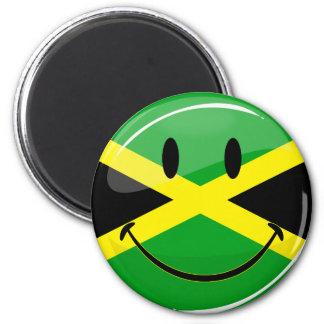 Lächelnde jamaikanische Flagge Runder Magnet 5,1 Cm