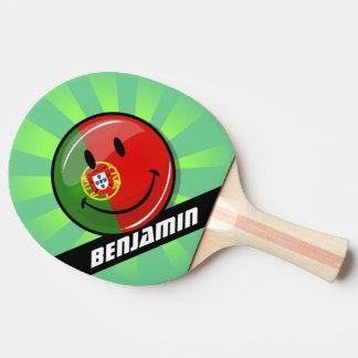 Lächelnde portugiesische Flagge Tischtennis Schläger