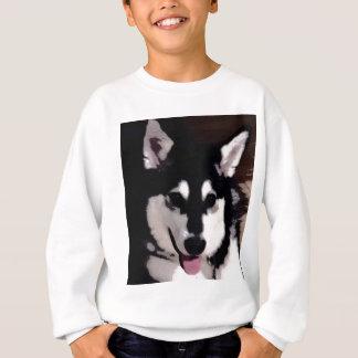 Lächelnder alaskischer Schwarzweiss-malamute Sweatshirt