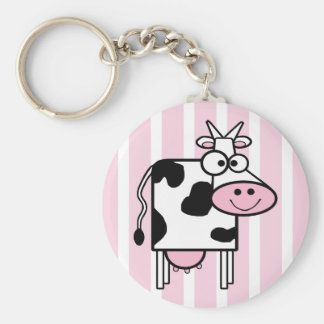 Lächelnder Kuh-Girly Tierdruck Schlüsselanhänger
