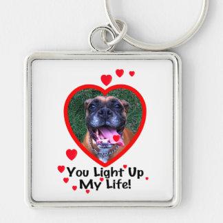 Lächelndes Boxer-Hundequadrat Keychain Schlüsselanhänger
