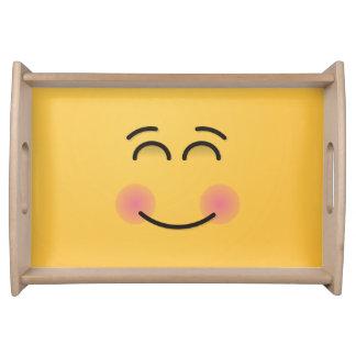 Lächelndes Gesicht mit lächelnden Augen Tablett