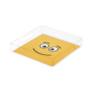 Lächelndes Gesicht mit offenen Augen Acryl Tablett