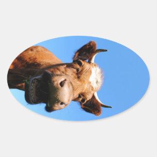 Lachende Kuh Ovaler Aufkleber