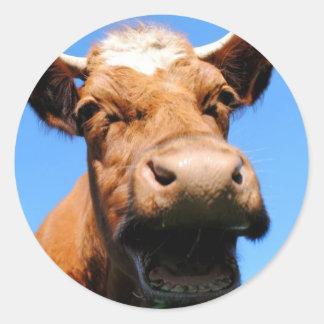 Lachende Kuh Runder Aufkleber