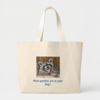 Lachende Lebensmittelgeschäft-Tasche des Raccoon Jumbo Stoffbeutel