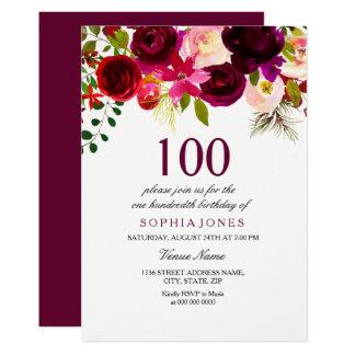 Laden BlumenBoho 100. Geburtstags Party Burgunders Karte