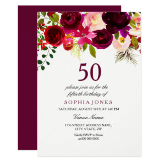 Laden BlumenBoho 50. Geburtstags-Party Burgunders 12,7 X 17,8 Cm Einladungskarte