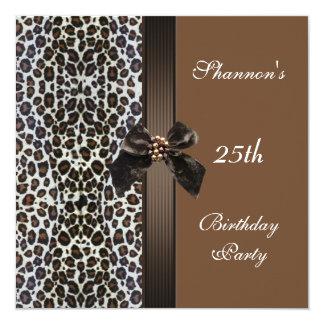 Laden Sie 25. Geburtstags-Party-Browntierdruck ein Quadratische 13,3 Cm Einladungskarte