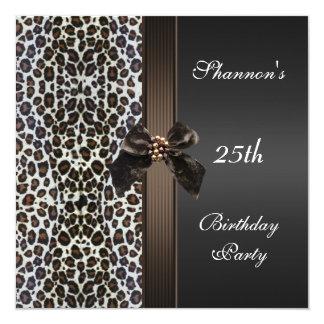 Laden Sie 25. Geburtstags-Party-Schwarz-Brown-Tier Quadratische 13,3 Cm Einladungskarte