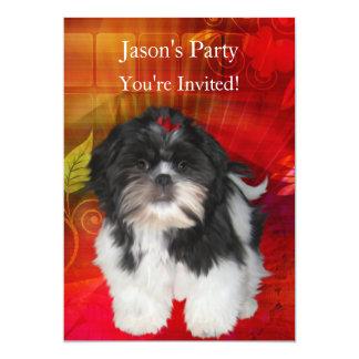 Laden Sie Geburtstags-Party Shih Tzu auf 12,7 X 17,8 Cm Einladungskarte