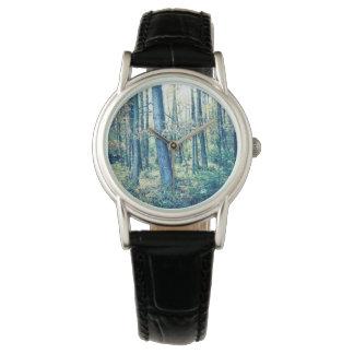 Laden Sie Ihr Foto, träumerischen Wald, Damenuhr Uhr