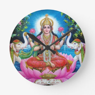 Lakshmi Göttin der Liebe, des Wohlstandes und des Runde Wanduhr
