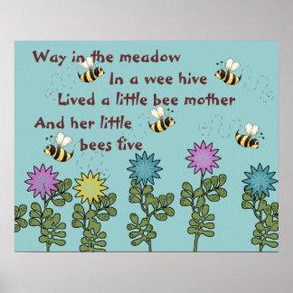 Land-Bienen-und Blumen-Kinderzimmer-Reim Poster