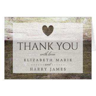 Land-danken hölzerne Herz-Hochzeit Ihnen Karte
