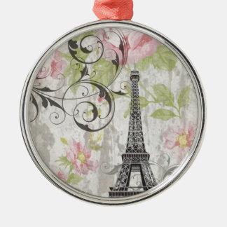 Land-Eiffel-mit Blumenturm des Shabby Chic Rundes Silberfarbenes Ornament