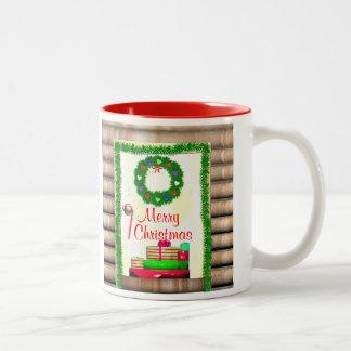 Land-frohe Weihnacht-Tür Zweifarbige Tasse