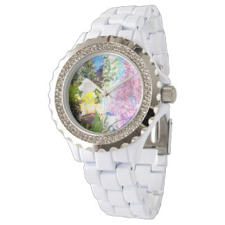 Land-Mädchen-Collagen-Rosa-Blumen-Hütten-Art Armbanduhr