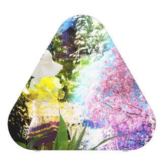 Land-Mädchen-Collagen-Rosa-Blumen-Hütten-Art Bluetooth Lautsprecher
