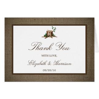 Land-Monogramm-Baum-u. Leinwand-Hochzeit danken Mitteilungskarte