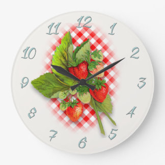 Land-roter Gingham und Erdbeeren Große Wanduhr