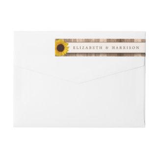 Land-rustikale Sonnenblume u. hölzerne Hochzeit Rundum-Adressaufkleber Für Rückversand