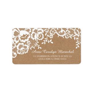 Land-rustikale Spitze-Hochzeit Adressaufkleber