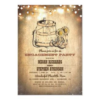Land-rustikales Cowboystiefel-Verlobungs-Party 12,7 X 17,8 Cm Einladungskarte